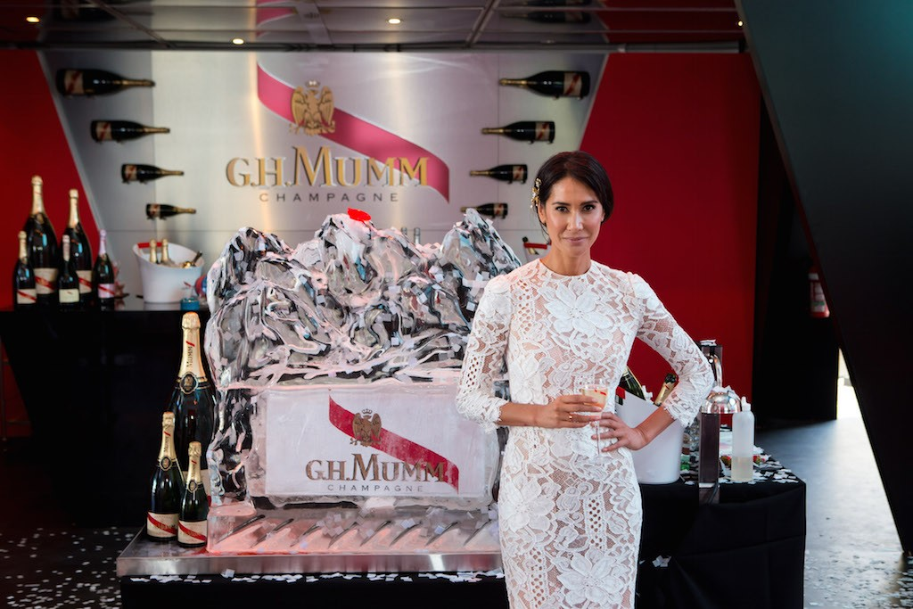 Lindy Klim for Mumm at  Birdcage Marquee at Melbourne Spring Racing Carnival
