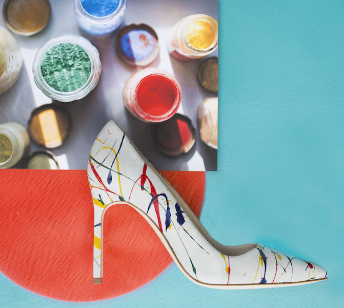 Manolo Blahnik shoes with splatter design by Lisa Perry